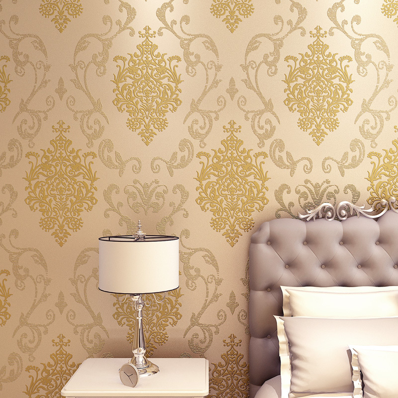 3d Wallpaper For Walls In Karachi New Design Golden Metallic Wallpaper