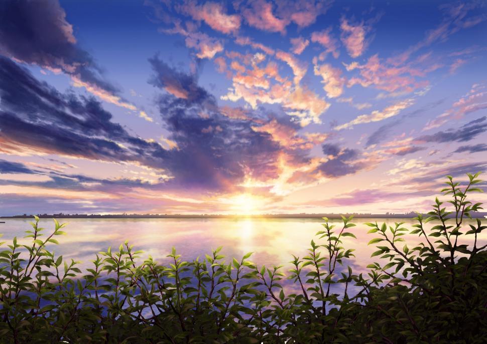 Sunrise 3d Wallpaper Anime Scenery Sunset Leaves Nature Wallpaper Anime