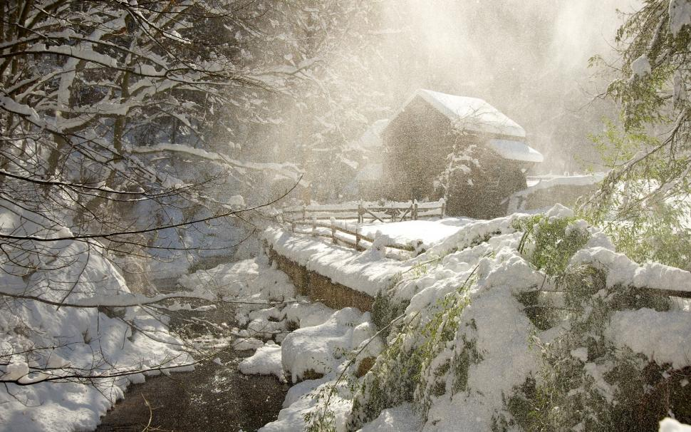 3d Snowy Cottage Animated Wallpaper Free Download Cottage Cabin Snow Winter Forest Trees Stream Hd Wallpaper