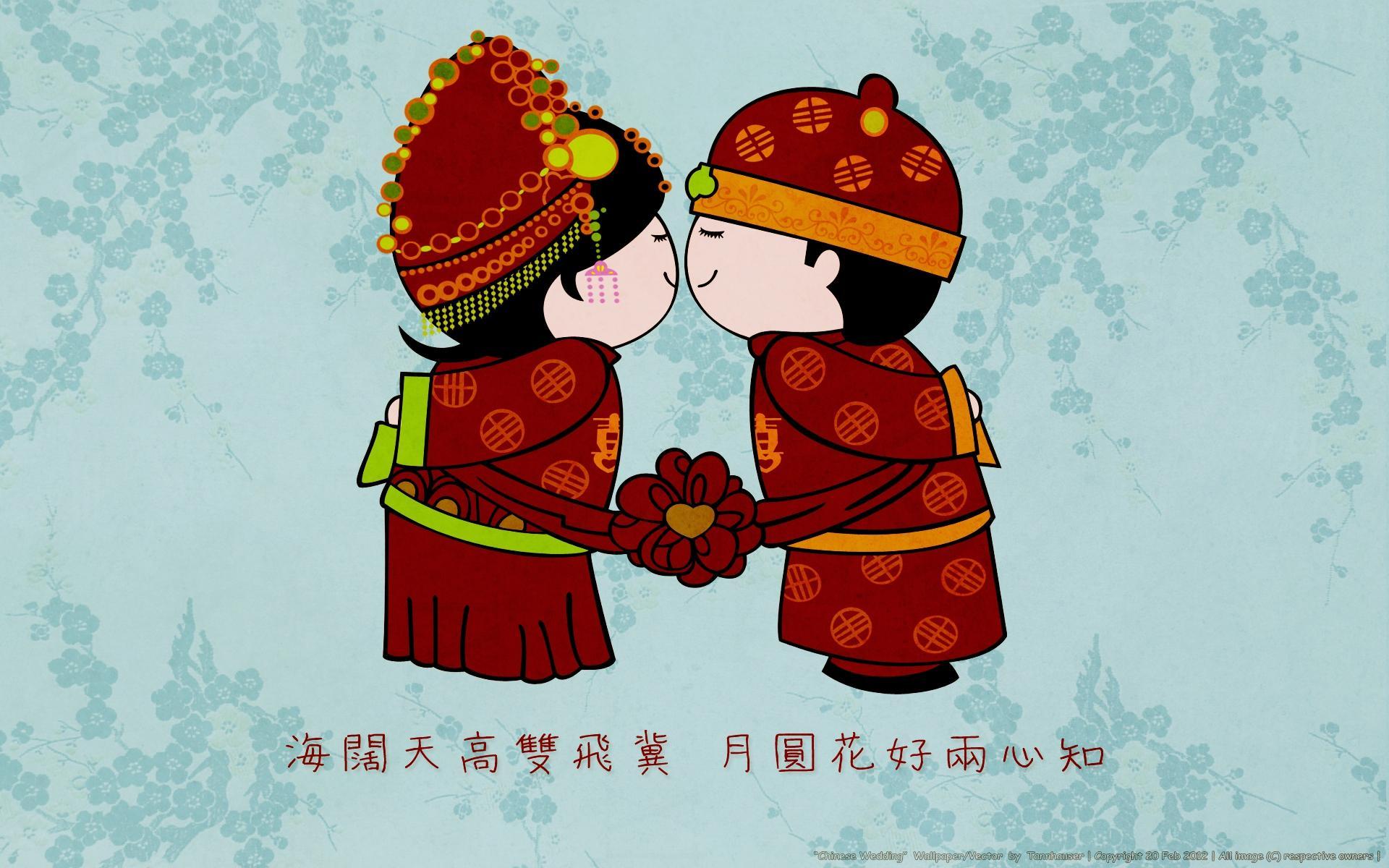 Cartoon Girl Boy Love Wallpaper Chinese Wedding Wallpaper Colorful Wallpaper Better