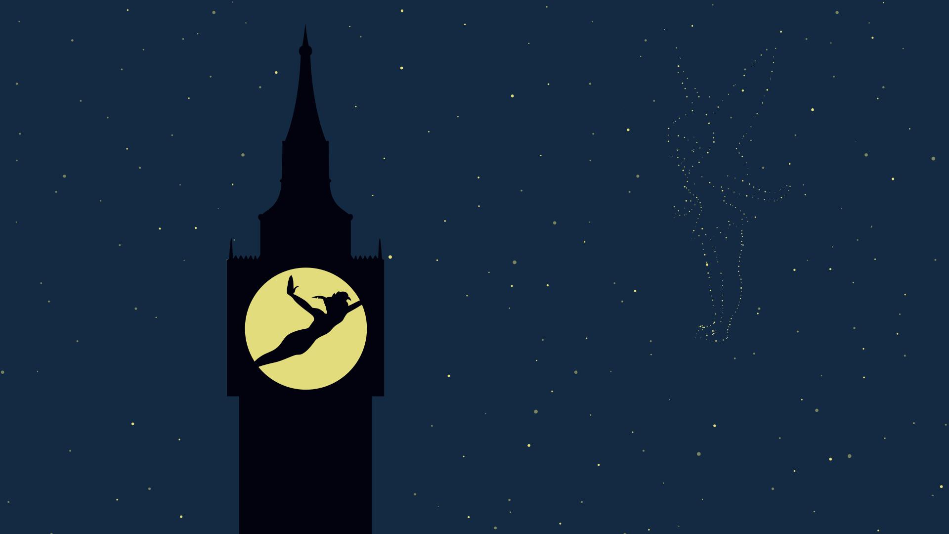London Iphone X Wallpaper Peter Pan Night Stars Tinkerbell Disney Hd Wallpaper