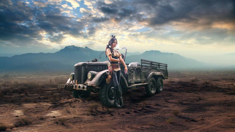 Off Road Cars Hd Wallpapers Girl And Car Cigarette Steampunk Retro Style Wallpaper