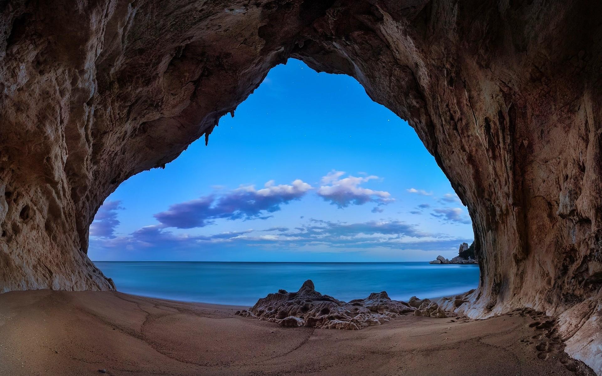 Cute Palm Tree Wallpaper Landscape Nature Beach Cave Rock Sea Clouds Morning