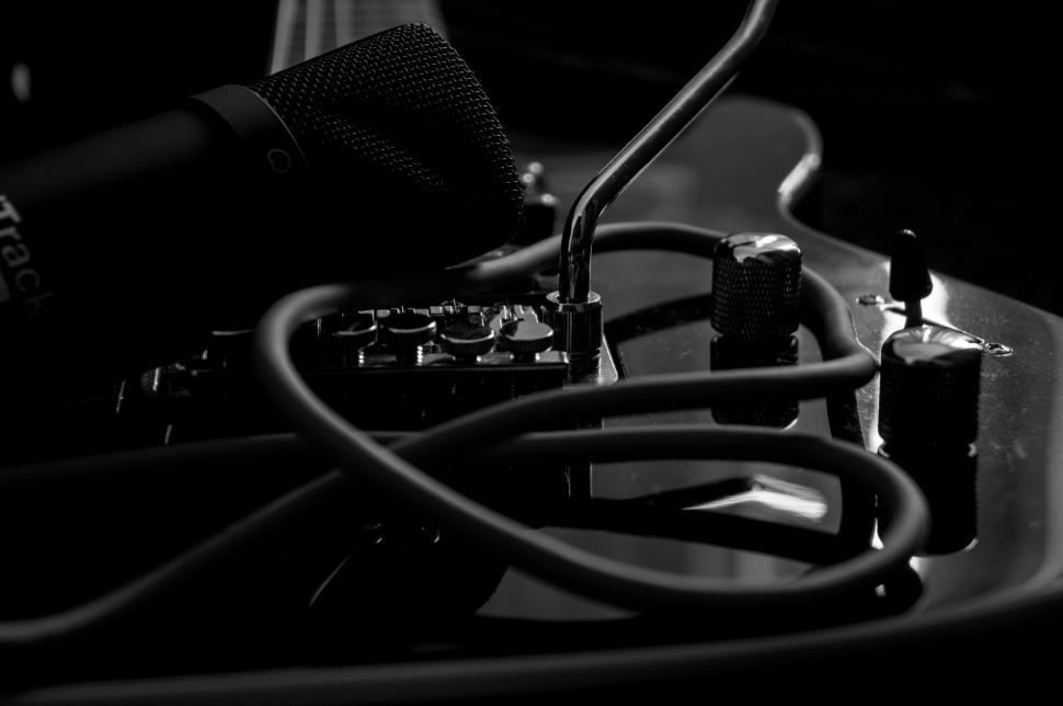 Music, Guitar, Musical Instrument, Monochrome, Microphones wallpaper