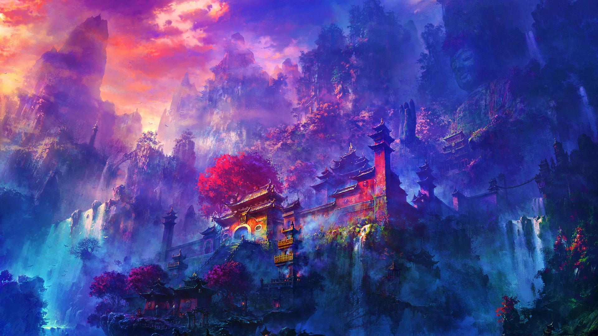 Cute Japanese Art 4k Wallpaper Oriental Mountain Temple Wallpaper Other Wallpaper Better