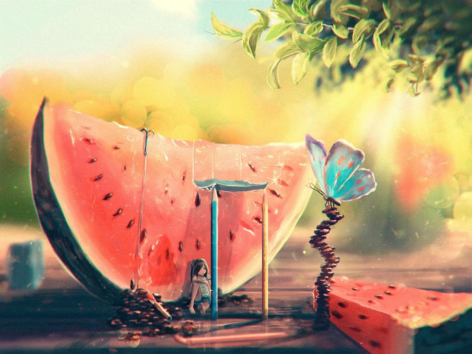Dream Quotes Wallpaper 1080p Summer Watermelon Girl Butterfly Art Painting