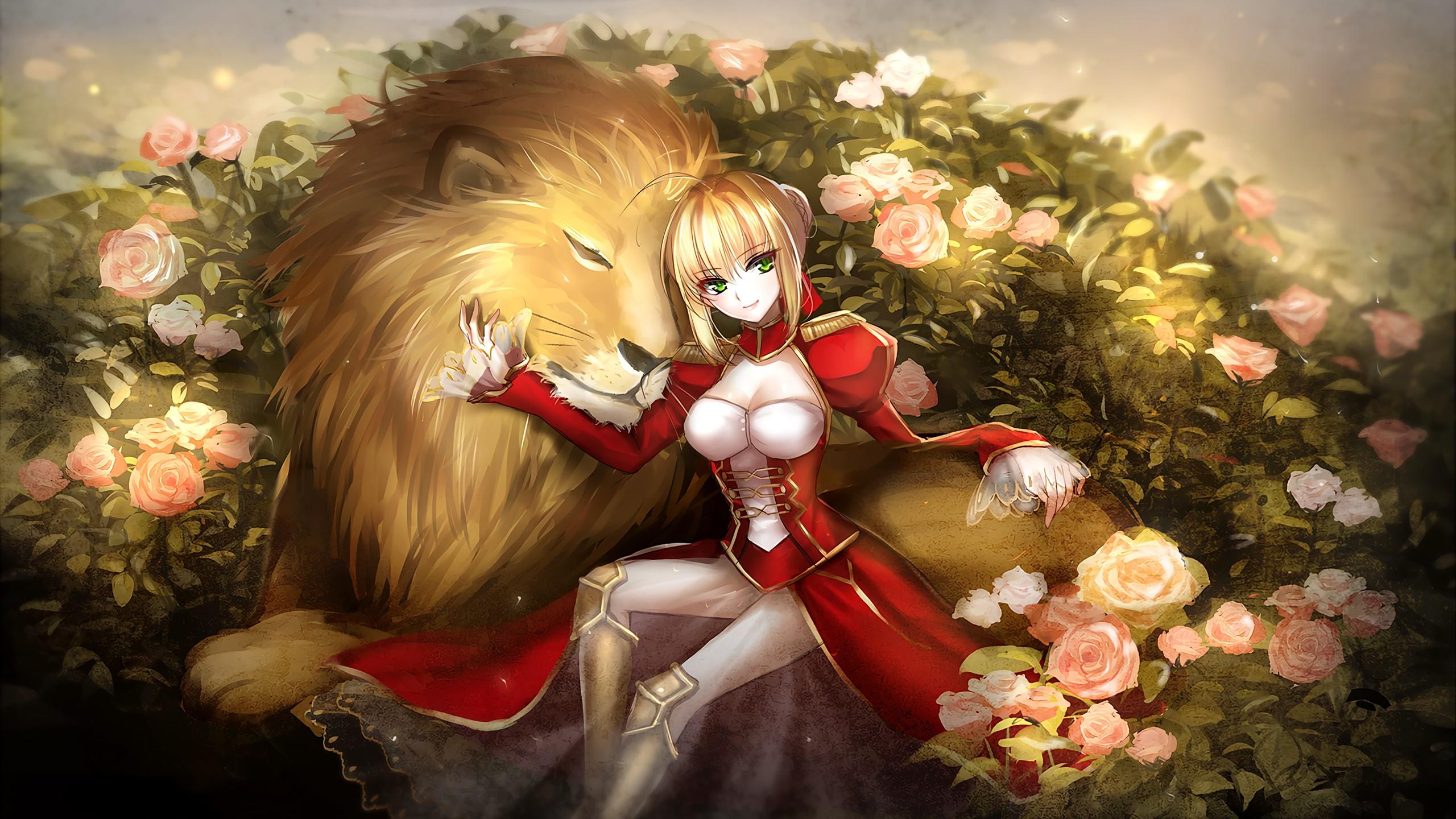Cute Sad Crying Girl Wallpaper Saber Extra Video Games Anime Girls Saber Anime Lion