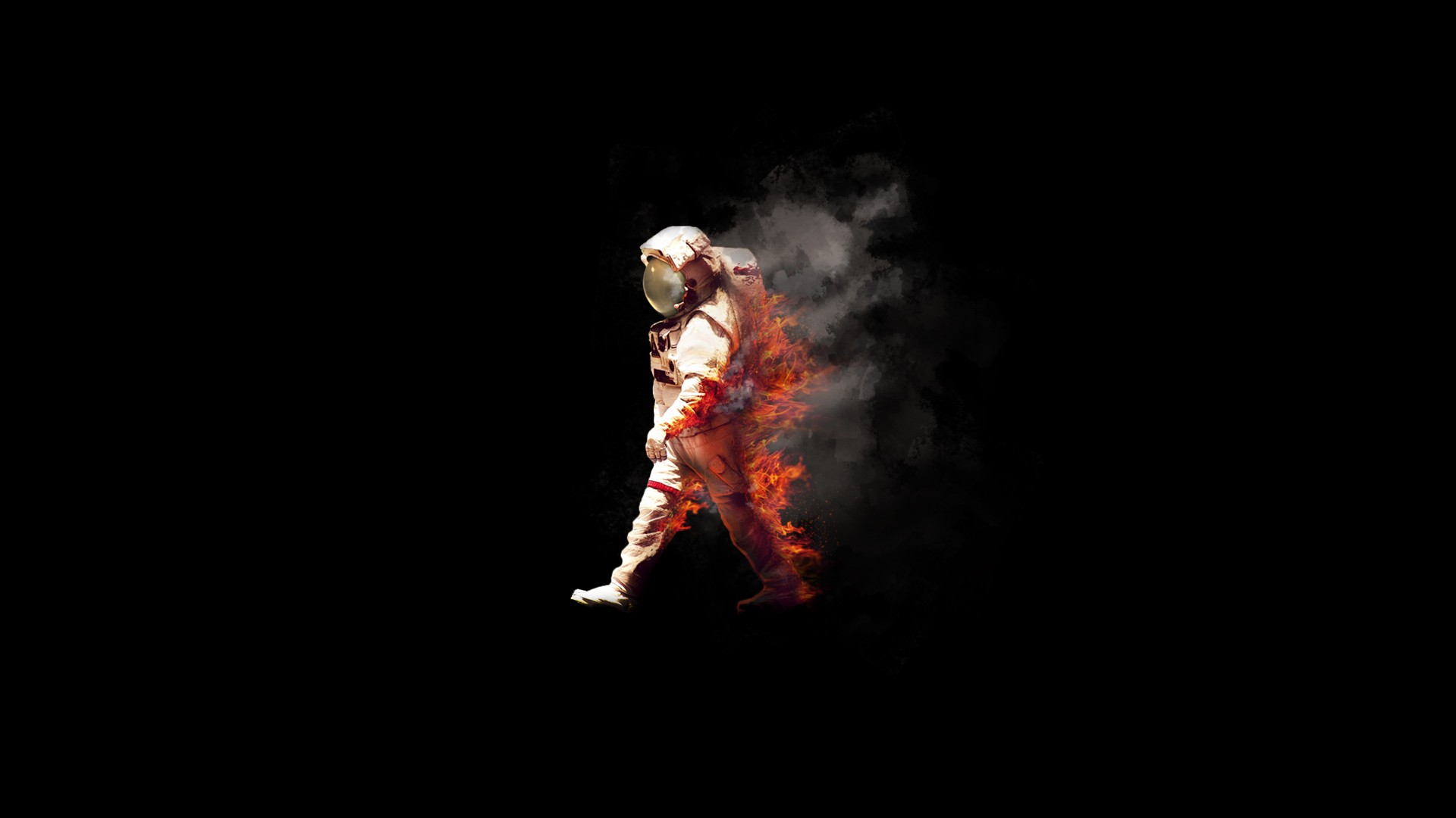 Hd Love Wallpapers For Mobile Free Download Burning Astronaut Spaceman Fire Nasa Spacesuit