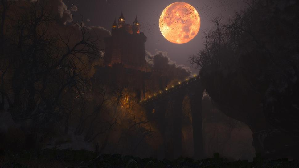 Digital Blasphemy 3d Wallpaper Free Fright Night At The Castle Wallpaper Nature And