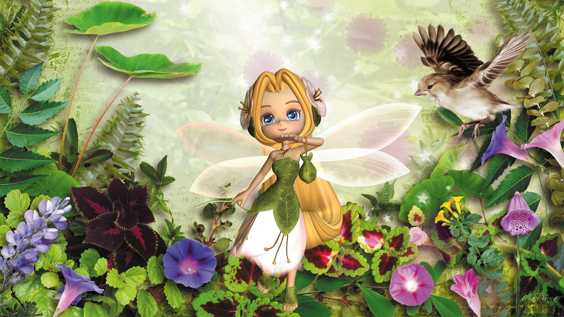 Cute Cartoon Bird Wallpapers Tiny Spring Fairy Wallpaper Nature And Landscape