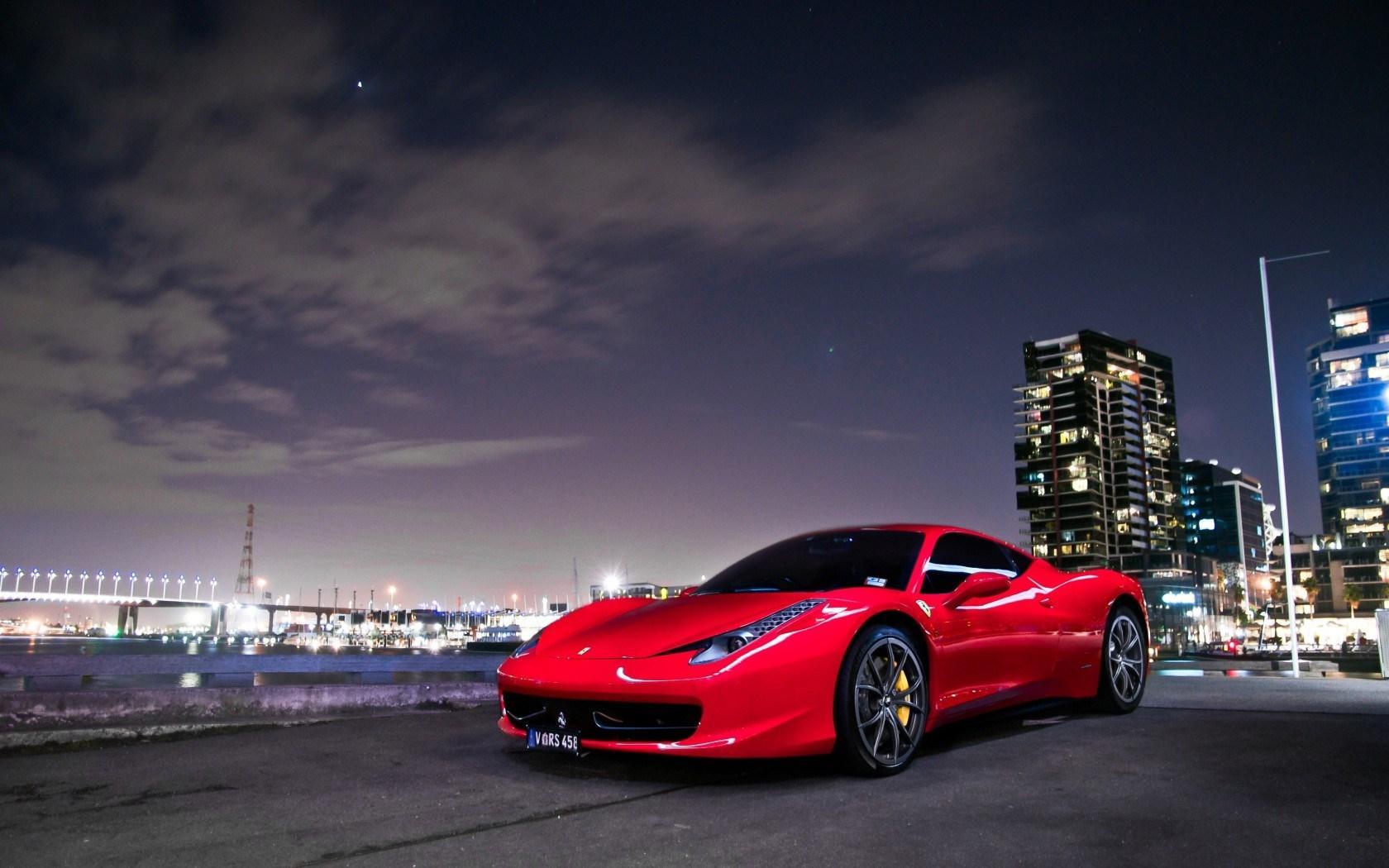 Full Hd Car Logos Wallpapers Ferrari 458 Italia Red Car Night Wallpaper Nature And