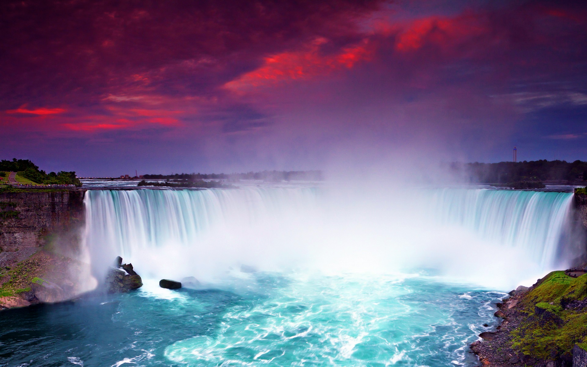 Niagara Falls Wallpaper Nature Night View Niagara Falls Beautiful Waterfalls Dusk Blue