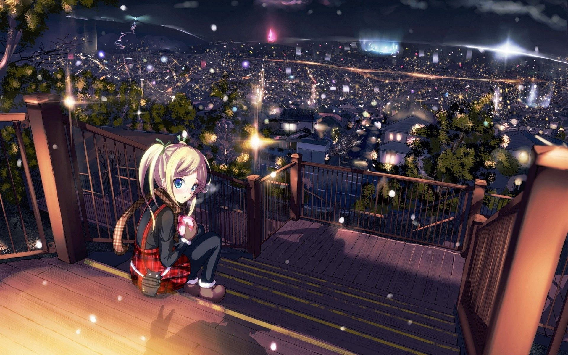 Lonely Girl Hd Wallpapers For Mobile Anime Girls City Night View Lights Wallpaper Anime