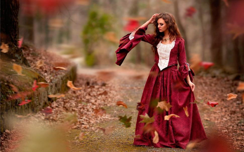 Fall In Love Couples Wallpapers Autumn Leaves Red Dress Girl Wind Wallpaper Girls