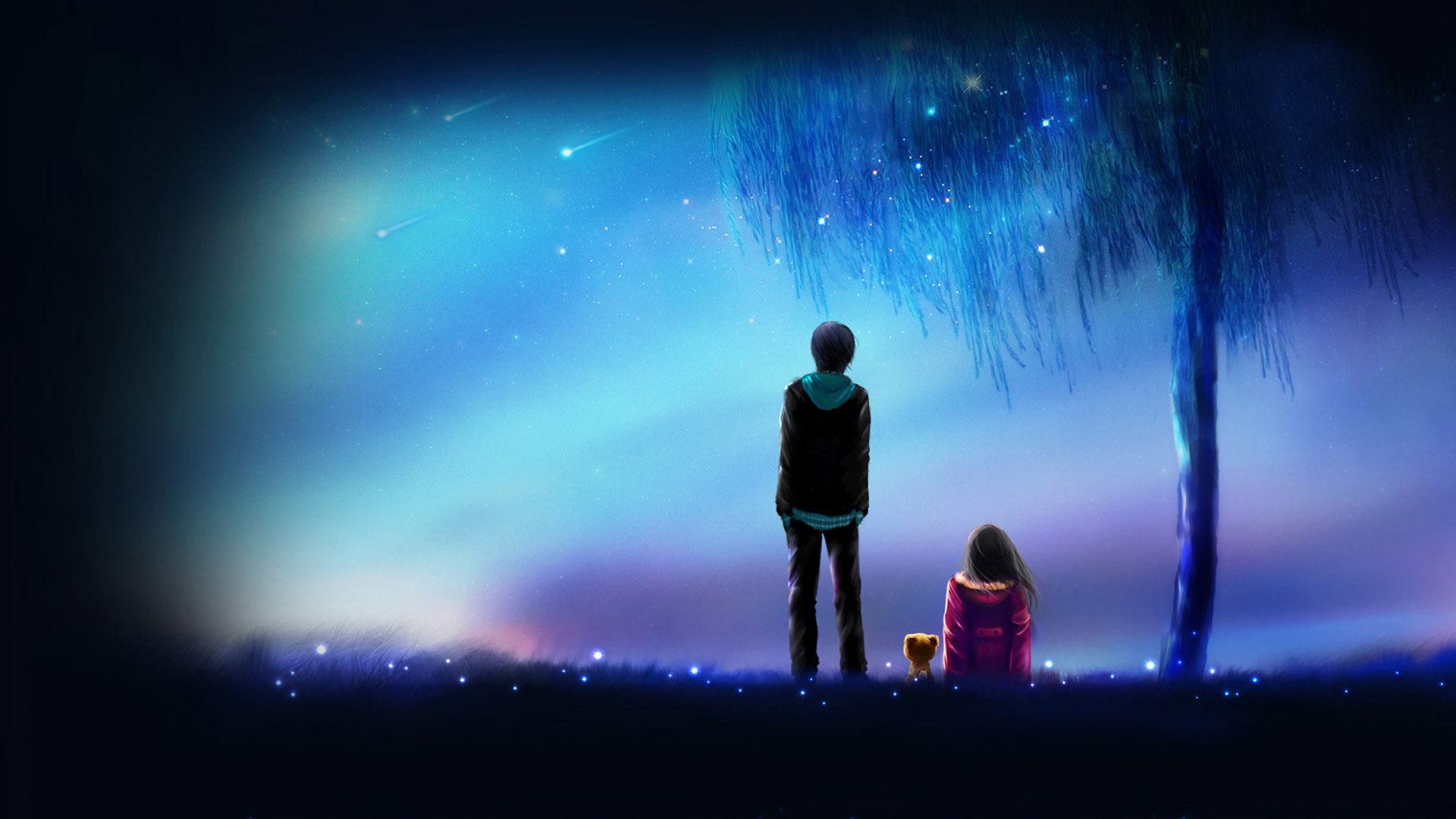 Cute Couples Holding Hands Wallpapers Meteor Anime Anime Boy Anime Girl Love Night Friends