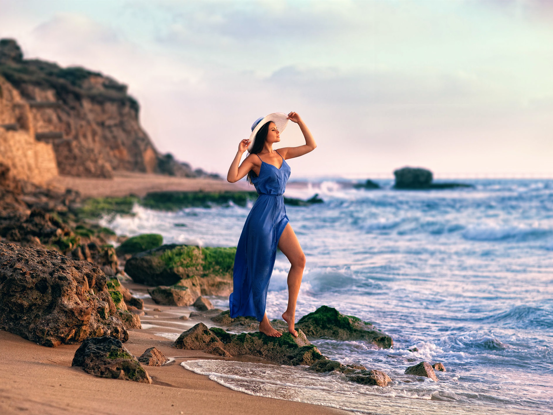 1080p Wallpaper Girl Feet Blue Dress Girl At Coast Rocks Sea Wallpaper Girls