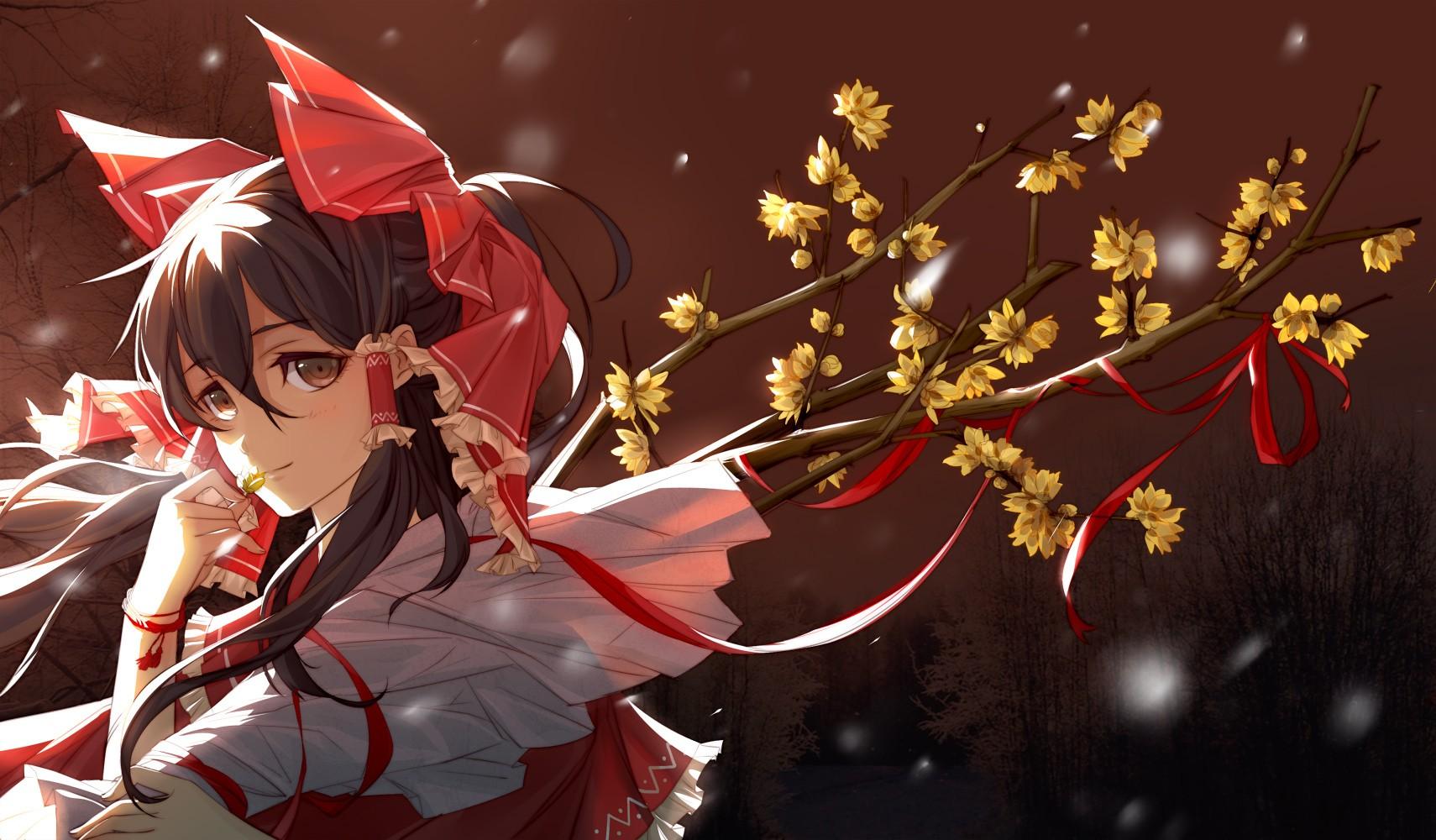 Project Cars Wallpaper Red Touhou Hakurei Reimu Girl Flowers Wallpaper Anime