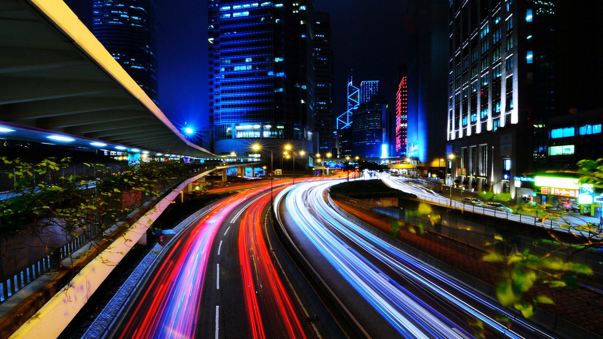 3d Moving Wallpapers City Lights Light Trails In City Free Desktop Wallpaper Travel And