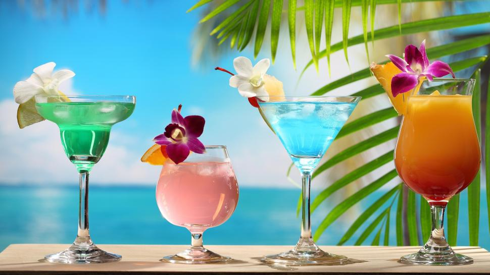 Cute Japanese Art 4k Wallpaper Tropical Cocktails Different Colors Glass Cups Flowers