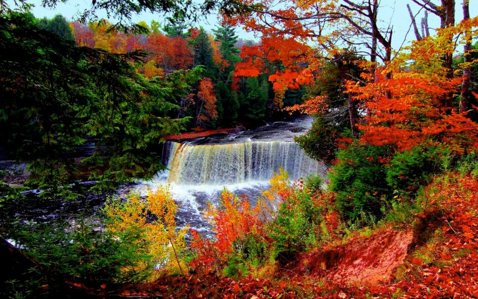 Cute Rustic Fall Wallpapers For Laptop Autumn Waterfall Wallpaper Nature And Landscape