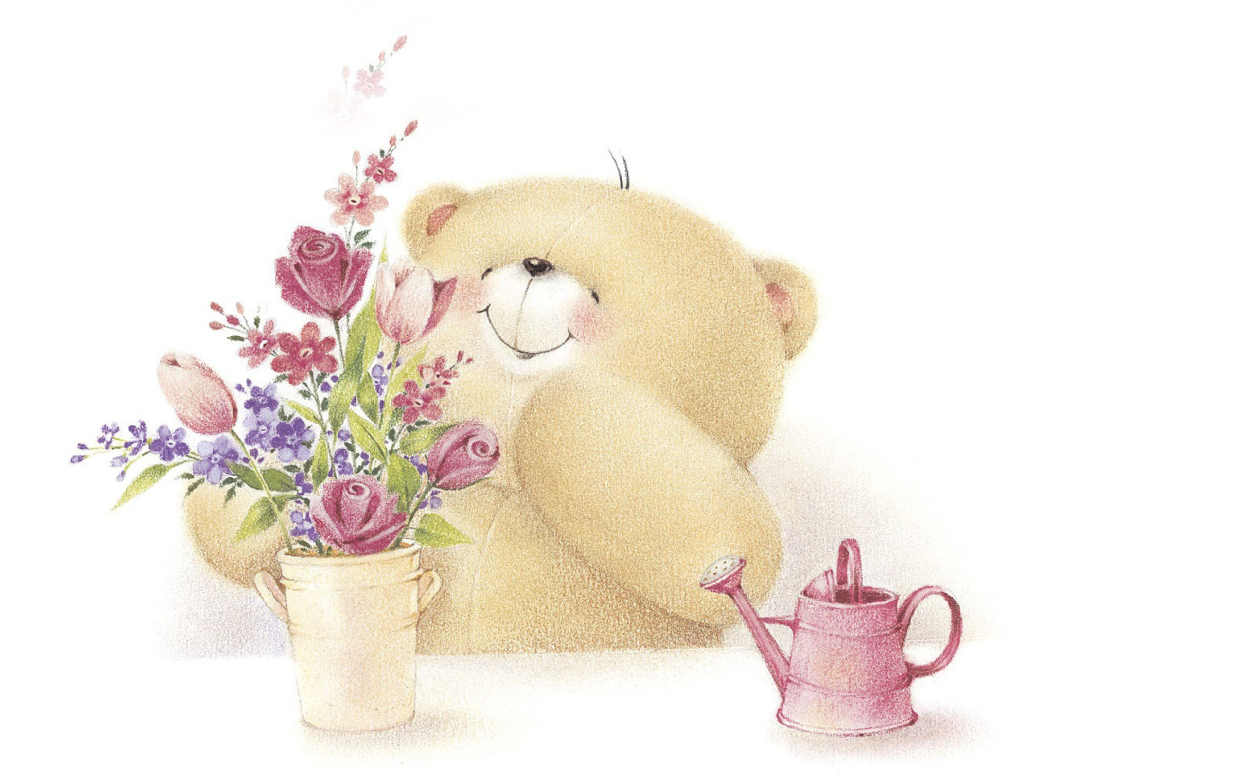 A Girly Girl Wallpapers Forever Friends Teddy Bear Love Flowers Wallpaper