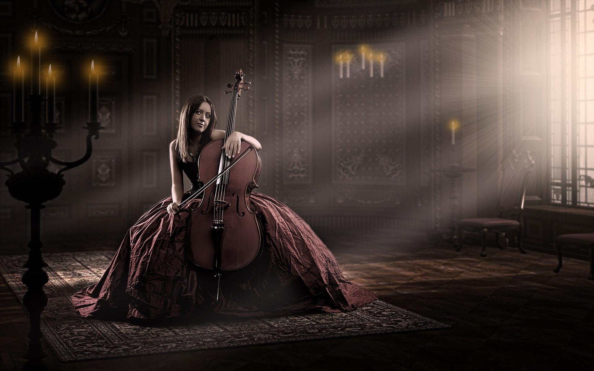 Download Wallpaper Paris Cute Red Dress Girl Cello Music Wallpaper Girls Wallpaper