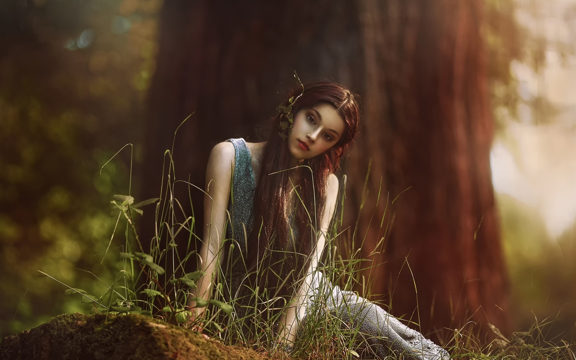 Fall Woodland Creatures Wallpaper Like Elf Girl In Forest Long Hair Wallpaper Girls