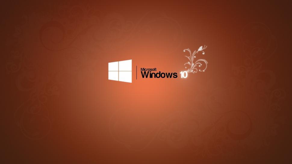 Microsoft Windows 10 logo, orange background wallpaper brands and