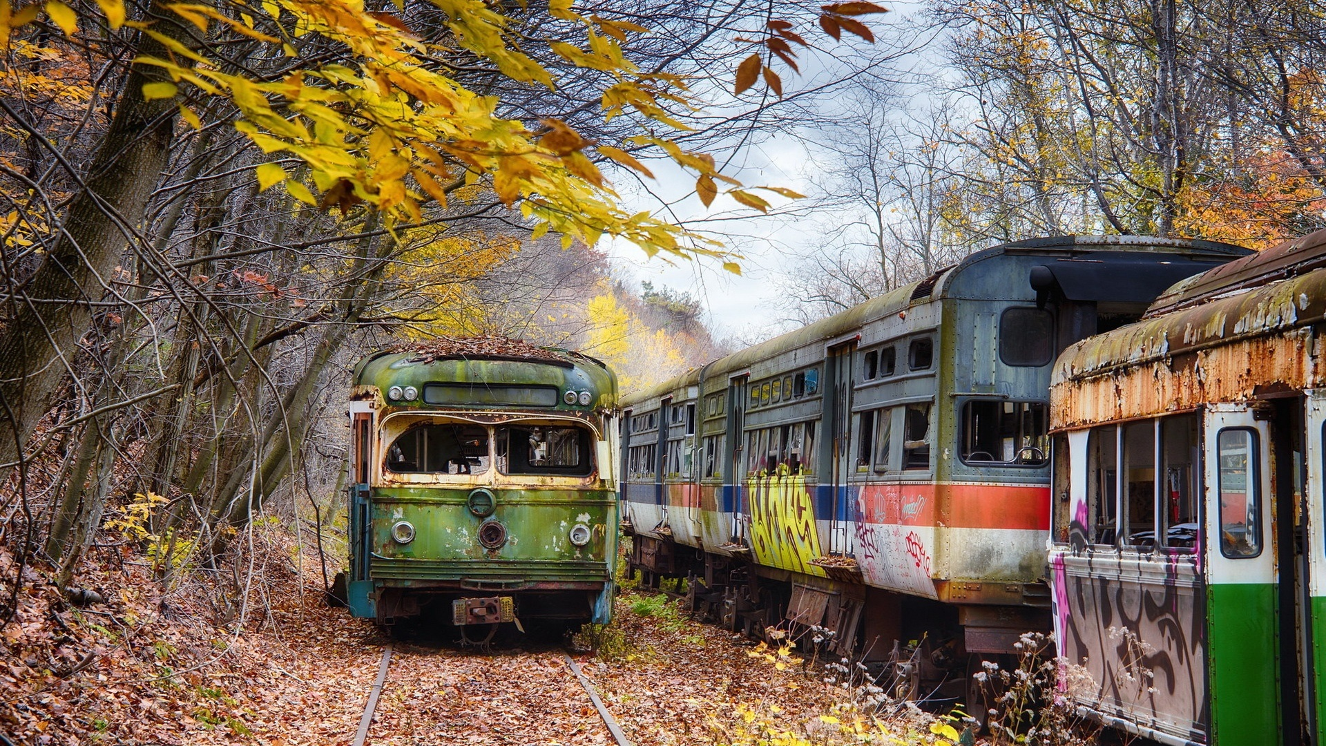 Live Moving Fall Wallpaper For Pc Abandoned Train Station Pennsylvania Trees Autumn