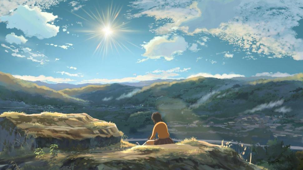 Anime Girl 1080p Wallpaper Sad Girl On The Cliff Wallpaper Anime Wallpaper Better