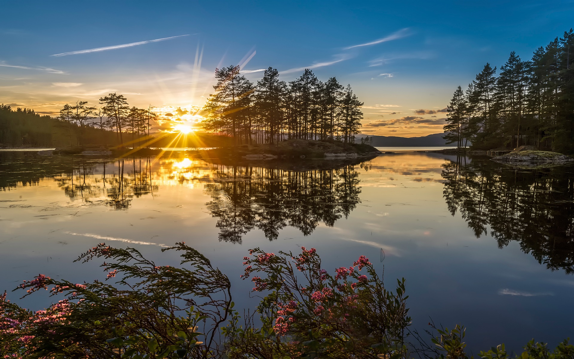 Cute Love Wallpapers Hd Full Size Norway Nature Sunset Lake Trees Sun Rays Wallpaper