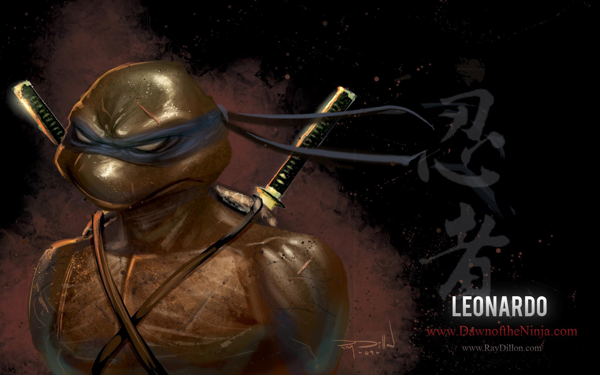 3d Wallpaper For Tv Unit Teenage Mutant Ninja Turtles Leonardo Drawing Hd Wallpaper