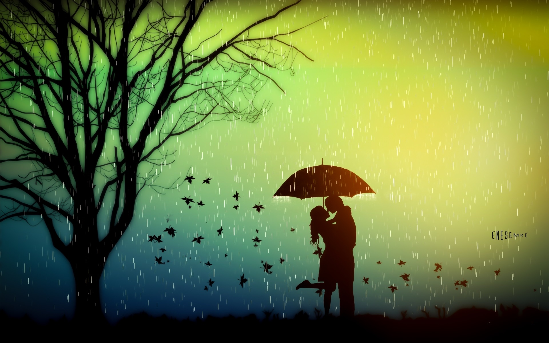 Cute Couples Wallpapers Full Hd Romance Lovers Tree Leaves Rainy Day Umbrella