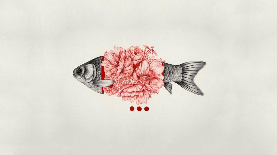 Cute Wallpapers Flower Simple Background Fish Flowers Digital Art Minimalism