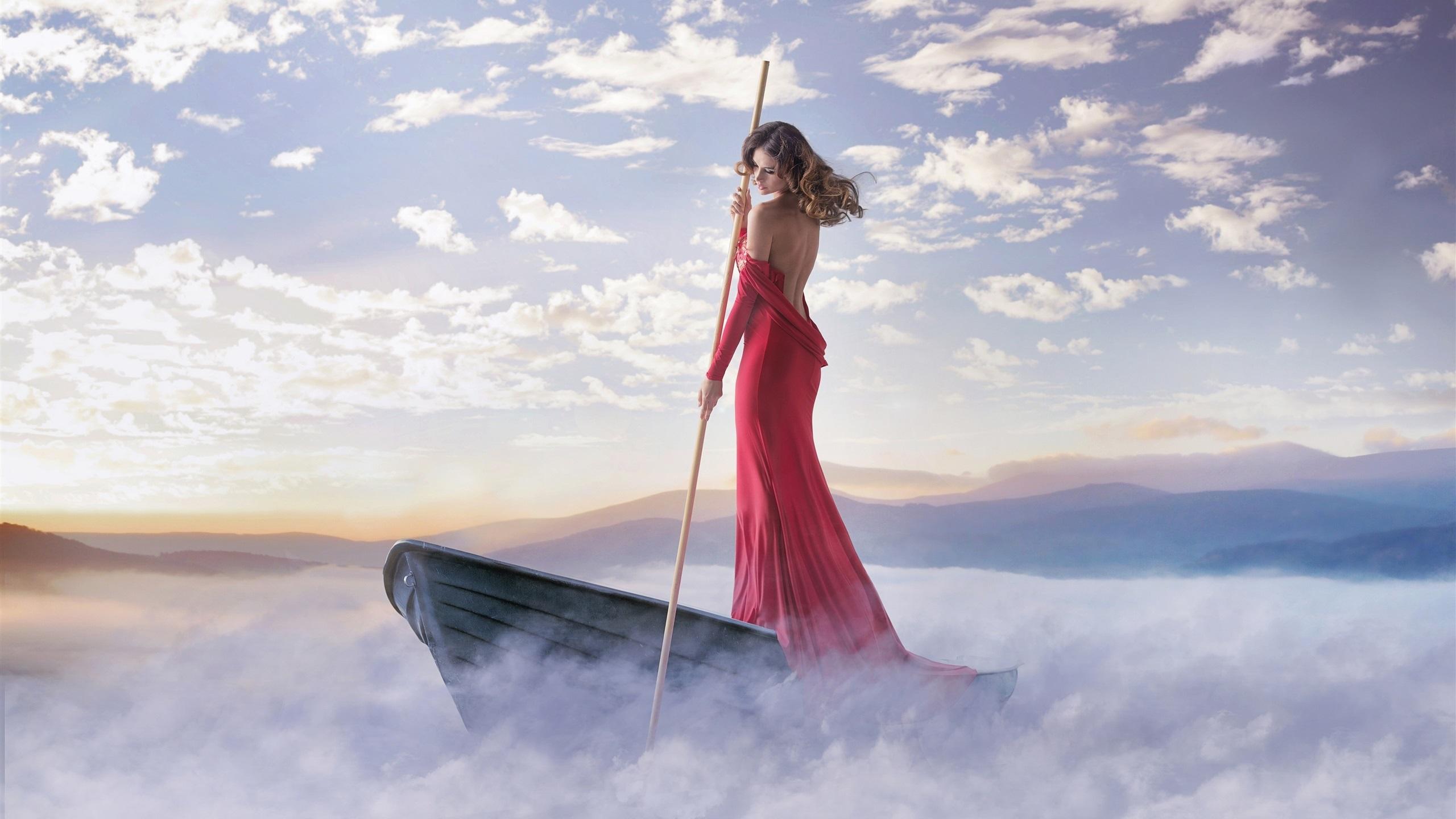 Fantasy Girl Hd Wallpaper Download Red Dress Girl Boat Fog Clouds Coast Wallpaper Girls