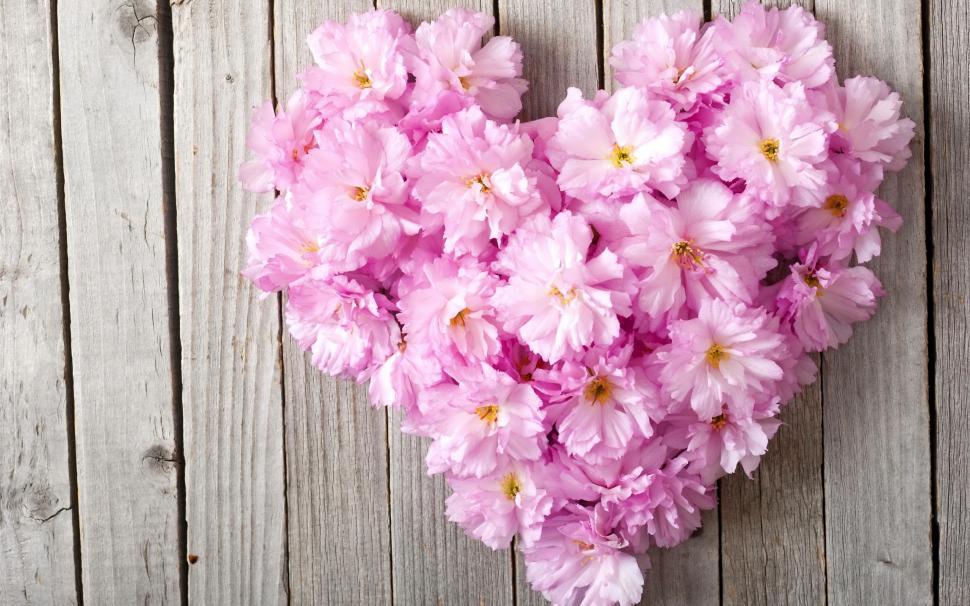 Pink Heart Wallpaper Hd Pink Flowers Love Heart Wood Board Wallpaper Flowers
