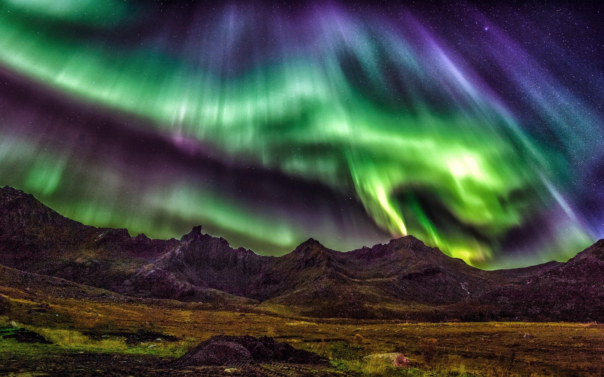 Pc Wallpaper 3d Love Lofoten Islands Norway Beautiful Night Northern Lights
