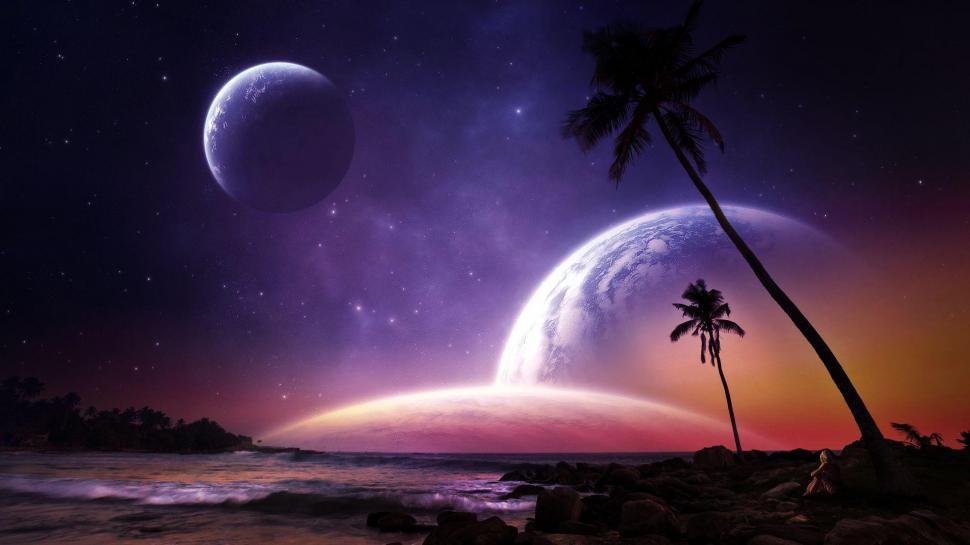 Cute Pineapple Iphone Wallpaper Planets On The Night Sky Above The Beach Wallpaper Other
