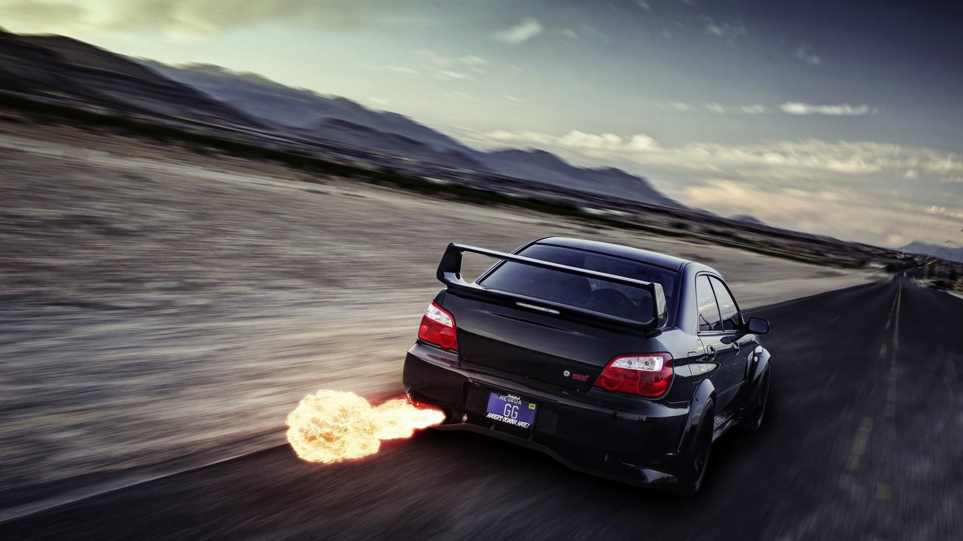 Nissan Gtr Car Hd Wallpapers Subaru Wrx Sti Backfire Flame Motion Blur Hd Wallpaper
