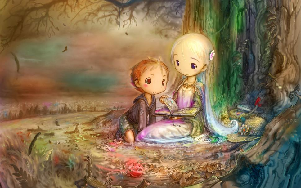 Girl In A Tree Reading A Book Wallpaper Girl And Boy Reading A Book Under The Tree Wallpaper Art