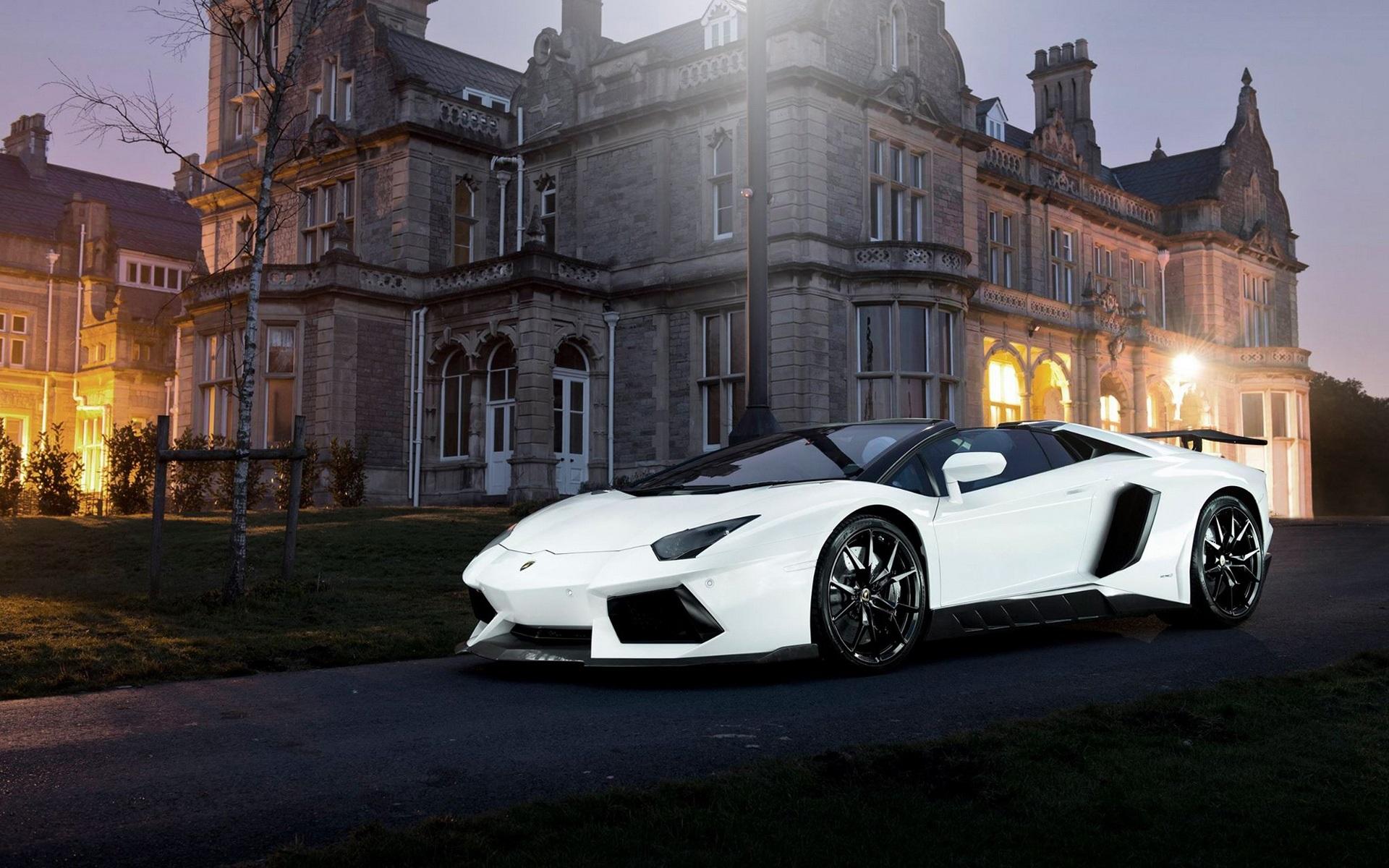 1080p Muscle Car Wallpaper Lamborghini Aventador White Supercar Night House Lights