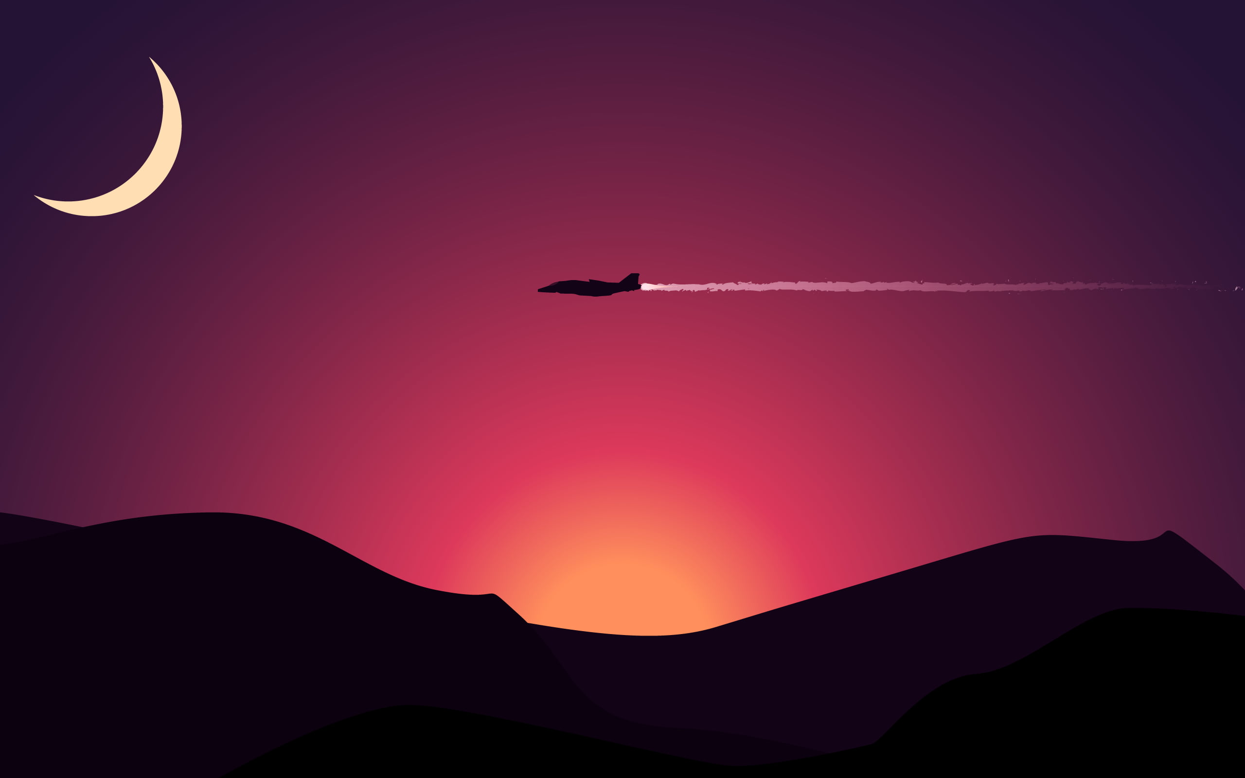 Iphone 2g Wallpaper For Iphone X Airplane Above Mountains With Sunset Under Crescent Moon