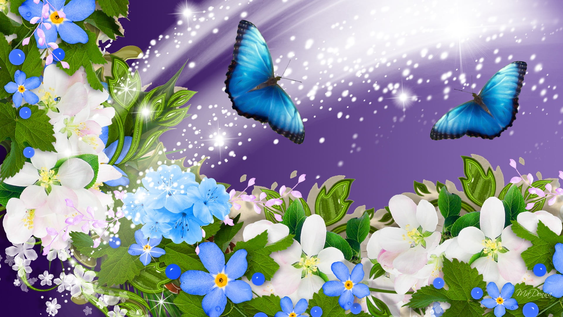 Iphone 2g Wallpaper For Iphone X Two Blue Butterflies Flying Above The Blue Flowers