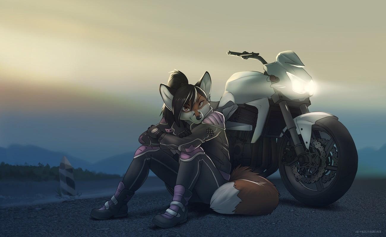 Iphone 2g Wallpaper Girl Anime Character Seats Beside Sports Bike Wallpaper Hd