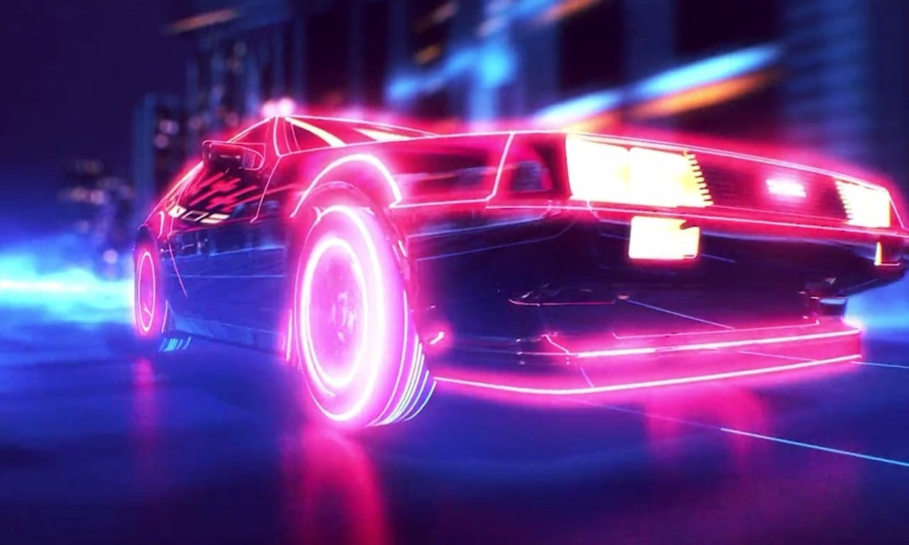 Anime Car 1080p Wallpaper Minimalist Red And Blue Led Car Illustration Hd Wallpaper Wallpaper