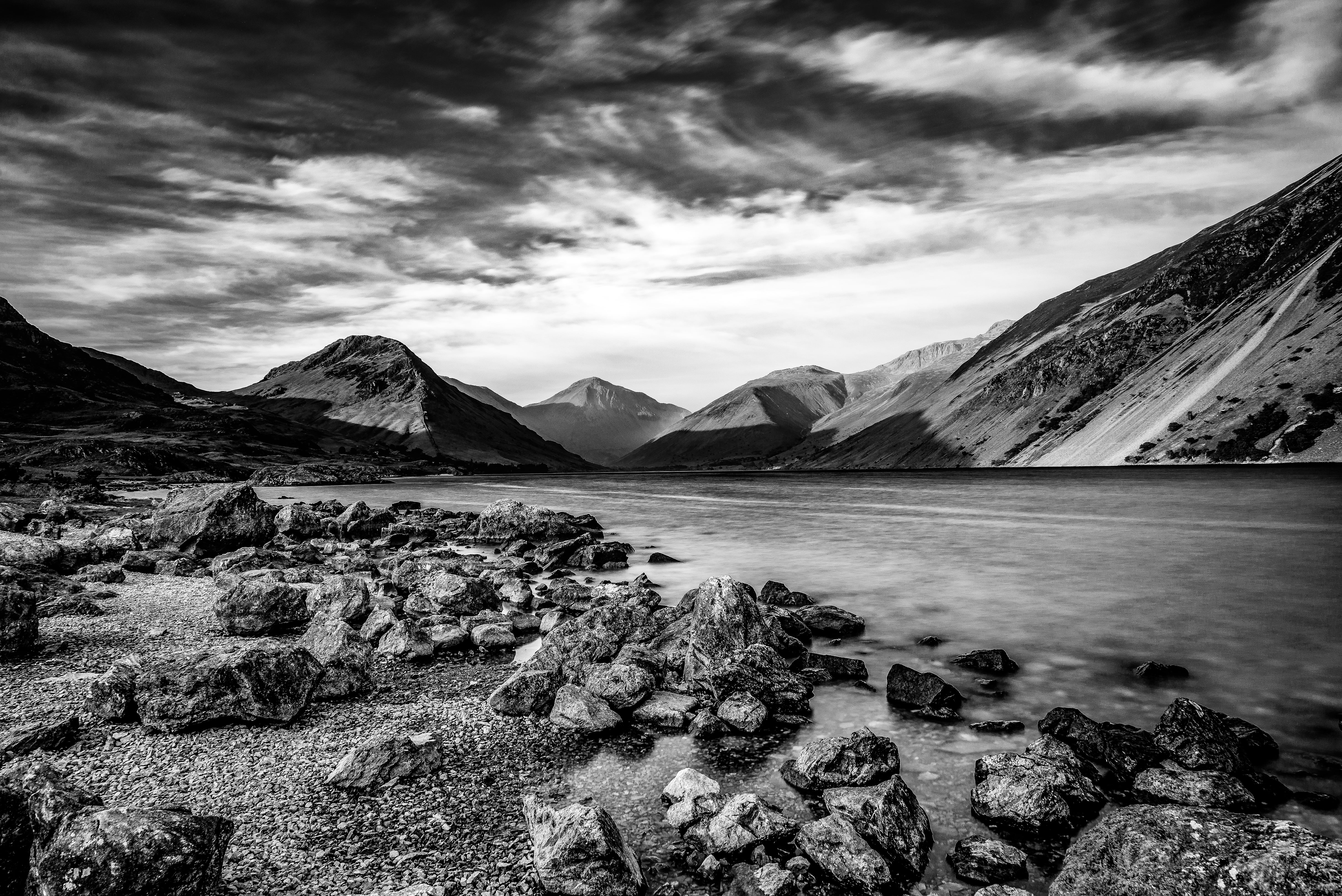 Iphone 2g Wallpaper For Iphone X Grayscale Photo Of Mountain Beside Body Of Water Hd