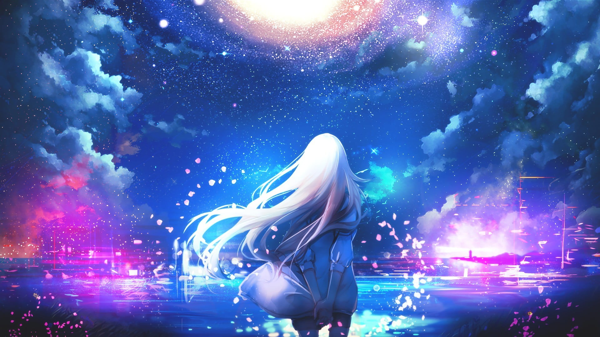Free Download Girl Wallpaper For 360x640 White Haired Girl Anime Under Galaxy Sky Hd Wallpaper