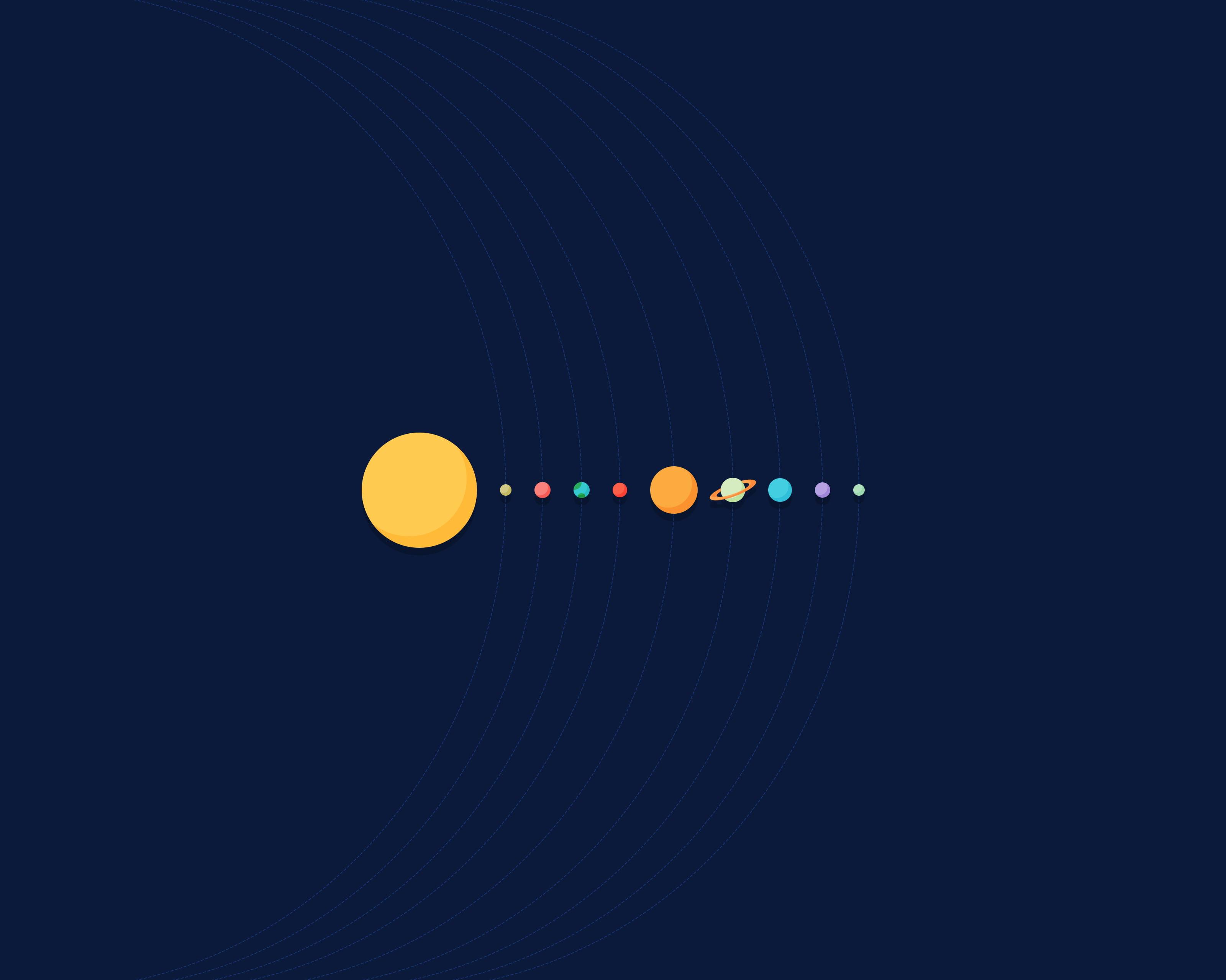 Cute Penguin Wallpaper Hd Alignment Of Solar System Illustration Hd Wallpaper