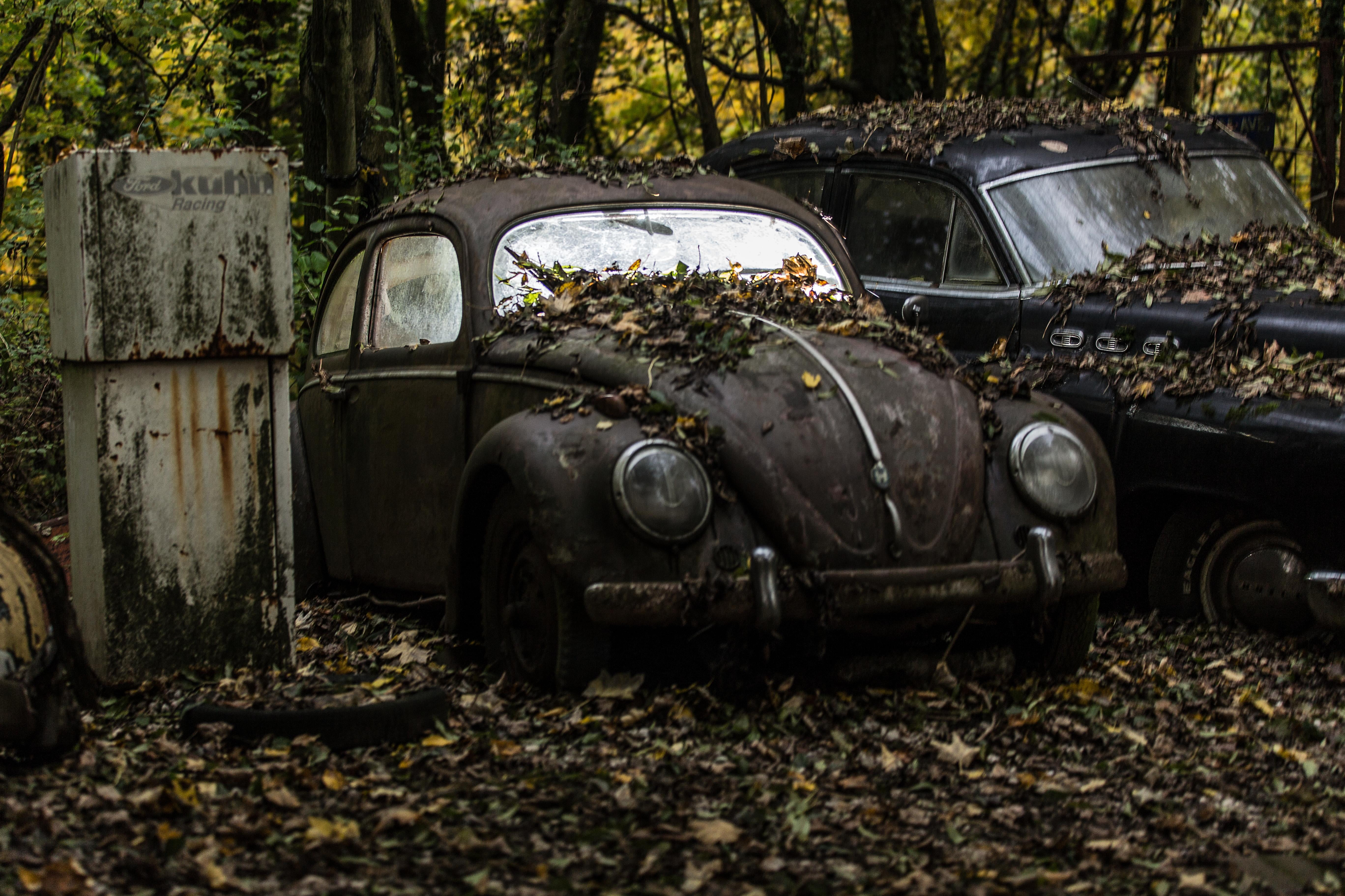 Iphone 2g Wallpaper Vintage Black Volkswagen Beetle Near Car Covered With
