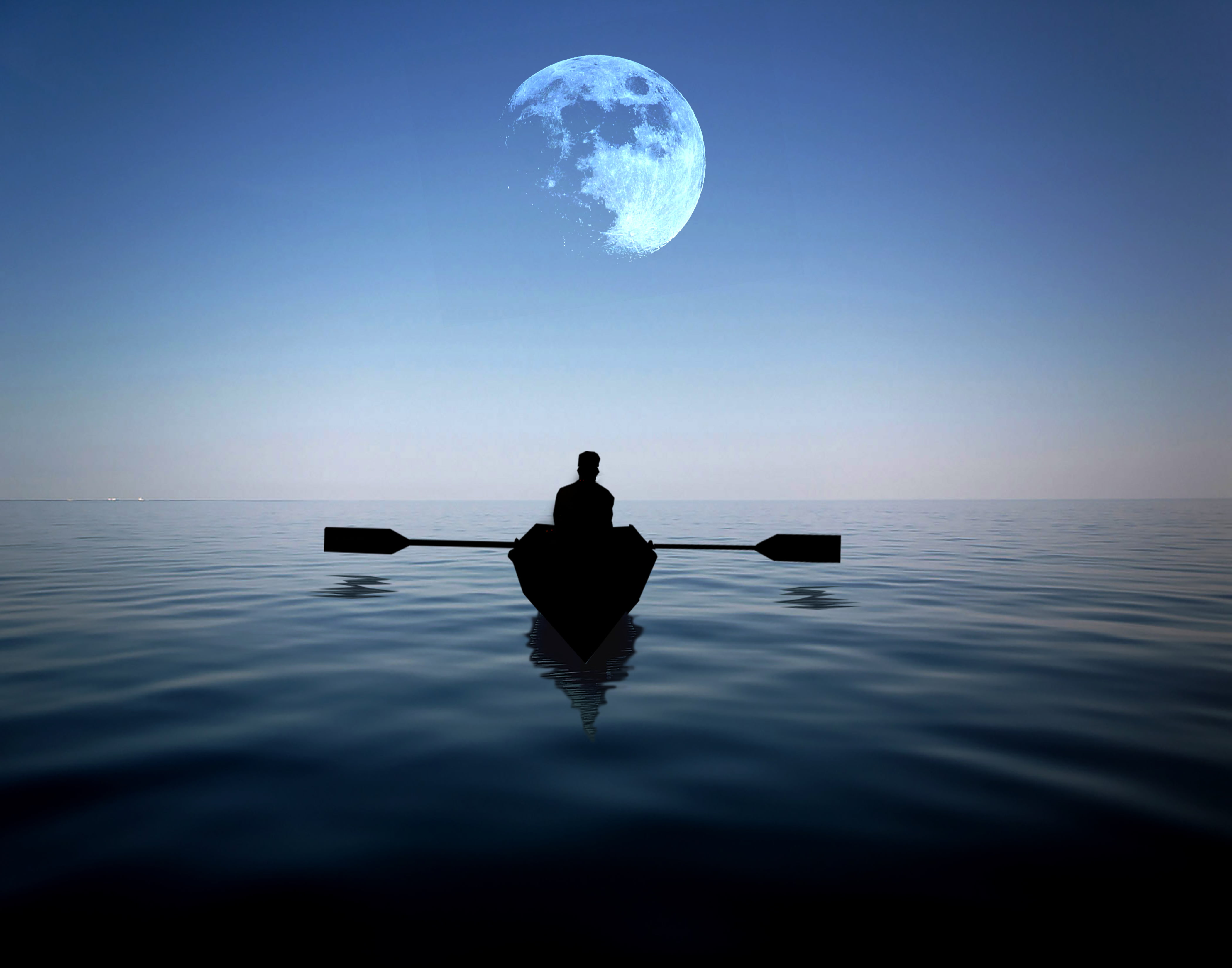 Free Download Girl Wallpaper For 360x640 Man Riding On A Boat Alone In The Sea With Moon Hovering